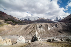 Het landschap van de berg Het gebied van Pamir kyrgyzstan Stock Afbeeldingen