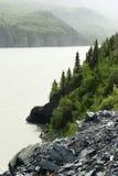 Het landschap van de berg met grondverschuiving in voorgrond Royalty-vrije Stock Foto's