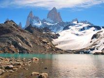 Het landschap van de berg met Mt. Fitz Roy in Patagonië Stock Afbeelding