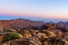Het landschap van de bergenochtend dichtbij van de berg van Mozes, Sinai Egypte Stock Foto