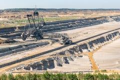 Het landschap van de bruinkool open kuil met het graven van graafwerktuig in Duitsland royalty-vrije stock foto's