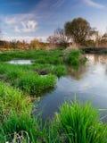 Het landschap van de de lentezonsondergang Royalty-vrije Stock Afbeeldingen