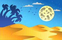 Het landschap van de de nachtwoestijn van het beeldverhaal Stock Afbeeldingen