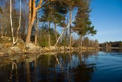 Het landschap van de de rivierlente van Vuoksi Stock Afbeeldingen