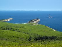 Het landschap van de de weidekust van de kust Stock Foto's