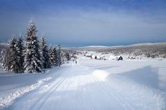Het landschap van de de winterberg met dwars het ski?en van het land slepen Stock Afbeelding