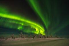 Het landschap van de de winternacht met bos, weg en polair licht over de bomen stock foto's