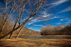 Het Landschap van de de winterrivier royalty-vrije stock afbeeldingen