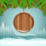 Het landschap van de de wintervorst met ronde houten grens van sparrentak Royalty-vrije Stock Foto