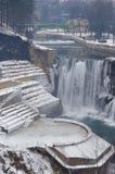 het landschap van de de winterwaterval Stock Fotografie