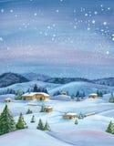 Het landschap van de de winterwaterverf Royalty-vrije Stock Afbeelding