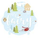 Het landschap van de Fairytalewinter met dieren en hut Fee sneeuwbos met uil Stock Fotografie