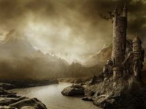 Het landschap van de fantasie met een toren royalty-vrije illustratie