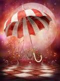 Het landschap van de fantasie met paraplu Stock Afbeeldingen