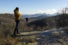 Het landschap van de fotograafspruit Stock Foto's