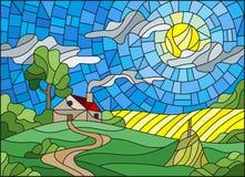 Het landschap van de gebrandschilderd glasillustratie met een eenzaam huis amid gebied, zon en hemel royalty-vrije illustratie