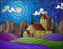 Het landschap van de gebrandschilderd glasillustratie met een eenzaam huis amid lavendelgebieden royalty-vrije illustratie