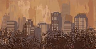 Het landschap van de herfst in bruine kleuren, stadshorizon Royalty-vrije Stock Foto