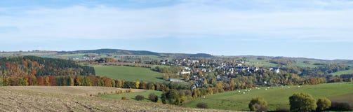 Het landschap van de herfst in Erzgebirge Stock Afbeelding