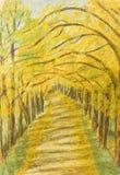 Het landschap van de herfst, het schilderen royalty-vrije illustratie