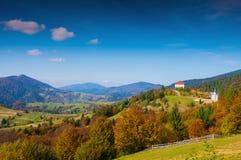 Het landschap van de herfst in Karpatische Bergen Stock Foto