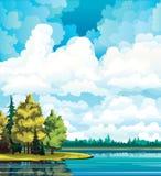 Het landschap van de herfst met bomen, meer, bos en wolken stock illustratie