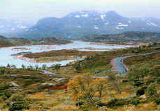 Het landschap van de herfst in Noorwegen Stock Foto's