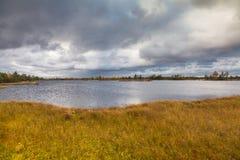 Het landschap van de herfst op het meer Stock Foto's