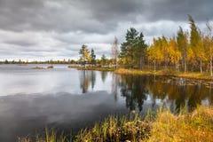 Het landschap van de herfst op het meer Stock Afbeeldingen