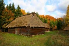 Het Landschap van de Herfst van buitenhuizen stock foto