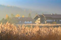 Het landschap van de de herfstochtend met mist over meer stock foto's