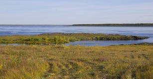 Het landschap van de de herfstrivier stock foto