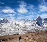 Het landschap van de Himalayanberg in het Nationale Park van Sagarmatha, Nepal royalty-vrije stock afbeelding