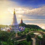 Het Landschap van de Inthanonberg van pagode twee (van phumsiri van nopphamethanidon-noppha phon stupa), chiang MAI, Thailand Stock Fotografie