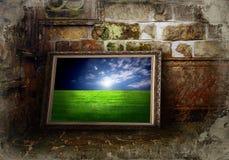 Het landschap van de kleur op grungemuur stock foto's
