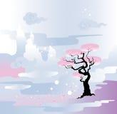 Het landschap van de lente. Bloeiende boom stock illustratie