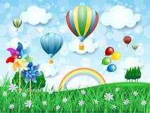 Het landschap van de lente met hete luchtballons Stock Afbeelding