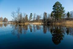Het landschap van de lente, rivier Vuoksi Stock Afbeelding