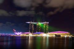 Het landschap van de Marina Bay Sands-laser toont royalty-vrije stock afbeeldingen
