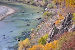 Het landschap van de meanderrivier Stock Foto's