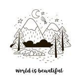 Het landschap van de Minimalisticberg met sparren De met de hand geschreven inschrijvingswereld is mooi royalty-vrije stock fotografie