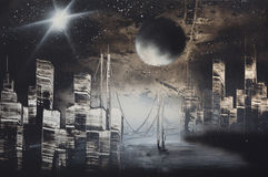 Het landschap van de nacht Stock Afbeelding