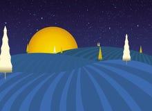 Het landschap van de nacht fairytale Stock Afbeelding