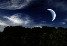 Het landschap van de nacht met de maan Royalty-vrije Stock Afbeeldingen