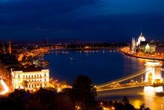 Het landschap van de nacht van Boedapest Royalty-vrije Stock Foto