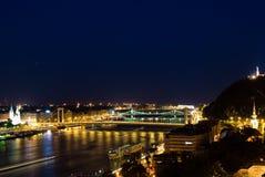 Het landschap van de nacht van Boedapest Stock Fotografie