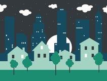 Het landschap van de nachtstad Stock Afbeeldingen