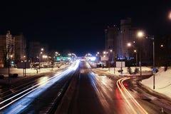 Het landschap van de nachtstad van de brug Stock Fotografie