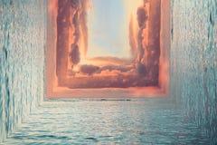 Het landschap van de oceaan in de vorm van abstractie, de aard van het vierkant royalty-vrije stock afbeeldingen