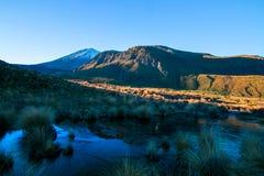 Het landschap van de ochtendzonsopgang in de ijskoude bergen, dichtbij uitgangspunt die van Tongariro, het parkeerterrein van Man stock foto's